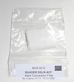 replacement baader IR filter for Canon 350D part number 2459212