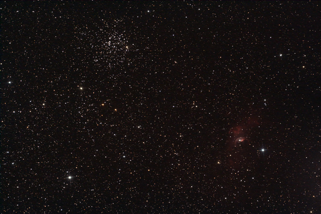 M52 and bubble nebula region with Canon 350d DSLR camera